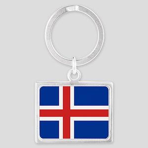 Flag of Iceland Landscape Keychain