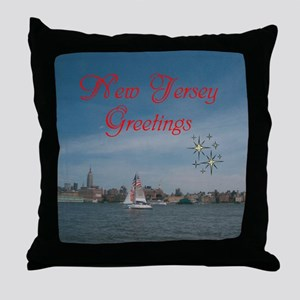NEW JERSEY GREETINGS. RED. Throw Pillow