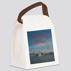 NEW JERSEY GREETINGS. RED. Canvas Lunch Bag