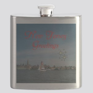 NEW JERSEY GREETINGS. RED. Flask