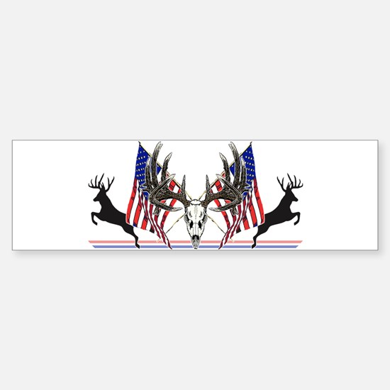 Patriotic Whitetail buck Bumper Car Car Sticker
