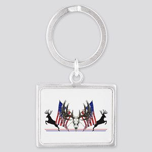 Patriotic Whitetail buck Keychains