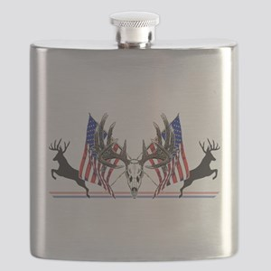 Patriotic Whitetail buck Flask