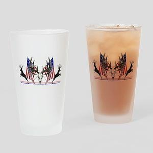 Patriotic Whitetail buck Drinking Glass