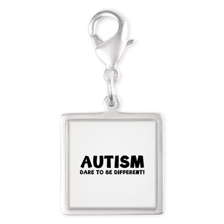 Autism Dare To Be Different! Silver Square Charm
