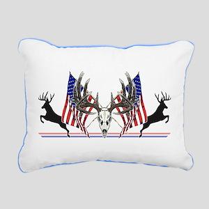 Patriotic Whitetail buck Rectangular Canvas Pillow