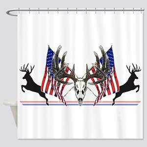 Patriotic Whitetail buck Shower Curtain
