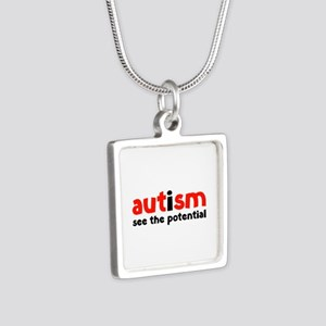 Autism See The Potential Silver Square Necklace
