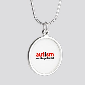 Autism See The Potential Silver Round Necklace