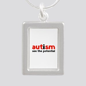 Autism See The Potential Silver Portrait Necklace