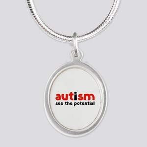 Autism See The Potential Silver Oval Necklace