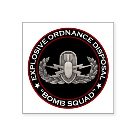 "EOD ""Bomb Squad"" Square Sticker 3"" x 3"""