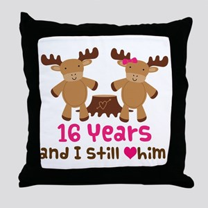 16th Anniversary Moose Throw Pillow