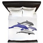 Four Dolphins together King Duvet