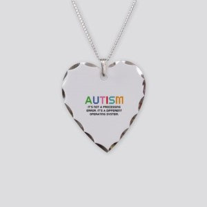 Autism Operating System Necklace Heart Charm