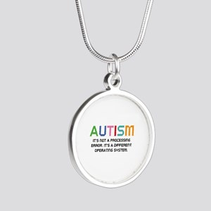 Autism Operating System Silver Round Necklace