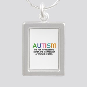 Autism Operating System Silver Portrait Necklace