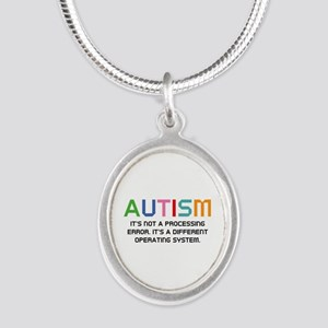 Autism Operating System Silver Oval Necklace