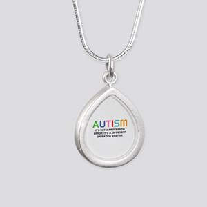 Autism Operating System Silver Teardrop Necklace