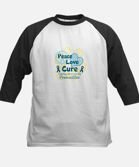 Teal Peace Love Cure Baseball Jersey