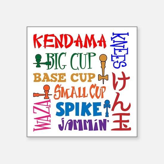 "Kendama Block Square Sticker 3"" x 3"""