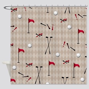 Hole in One Golf Equipment on Tan Argyle Shower Cu