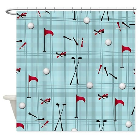 Hole in One Golf Equipment on Blue Plaid Shower Cu