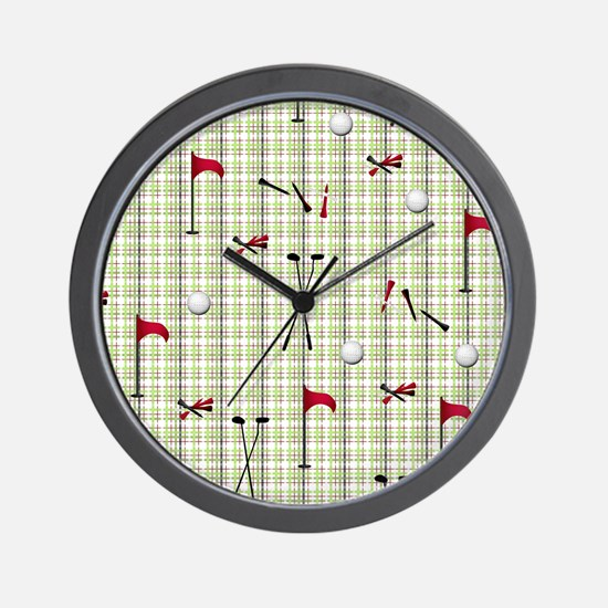 Hole in One Golf Equipment on Plaid Wall Clock