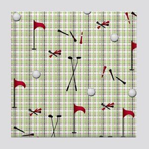 Hole in One Golf Equipment on Plaid Tile Coaster