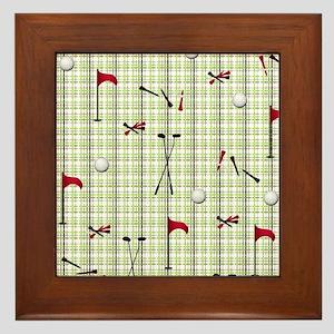Hole in One Golf Equipment on Plaid Framed Tile