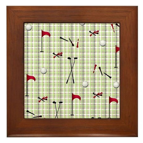 Hole in One Golf Equipment on Plaid Framed Tile