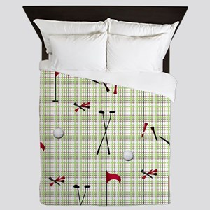 Hole in One Golf Equipment on Plaid Queen Duvet