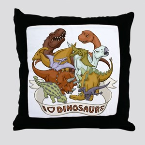 I Heart Dinosaurs Throw Pillow