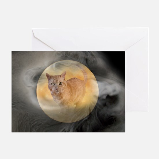Cat in Moon Greeting Card