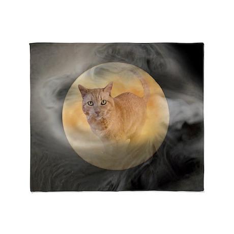 Cat in Moon Throw Blanket