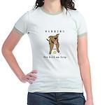 Cute Pit Bull Warning Jr. Ringer T-Shirt