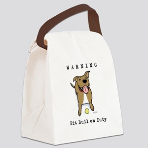 Cute Pit Bull Warning Canvas Lunch Bag