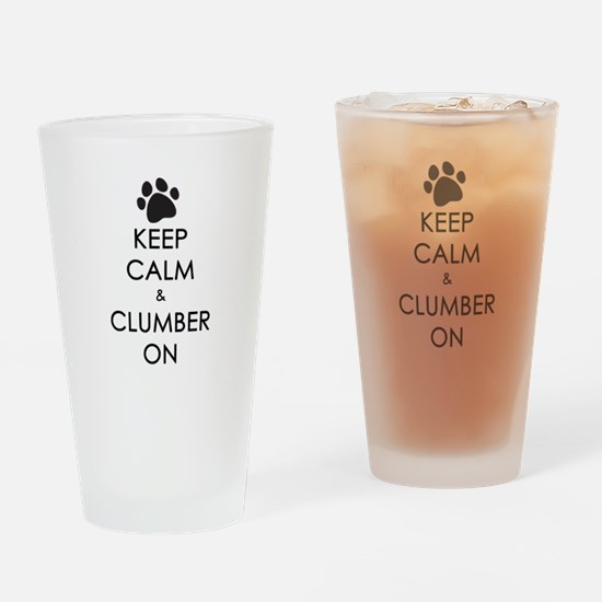 Keep Calm & Clumber On - paw Drinking Glass