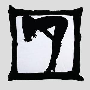 Sexy woman in heels bending over Throw Pillow