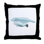 Mom and Baby Manatees Throw Pillow