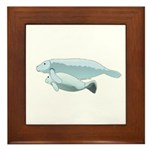 Mom and Baby Manatees Framed Tile