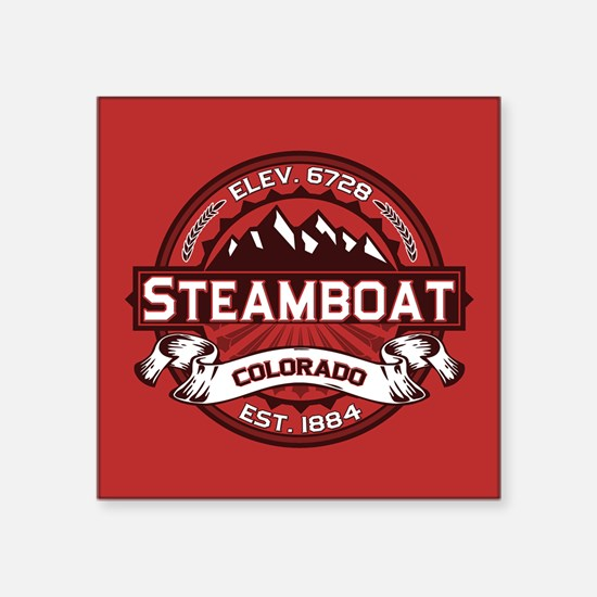 """Steamboat Red Square Sticker 3"""" x 3"""""""