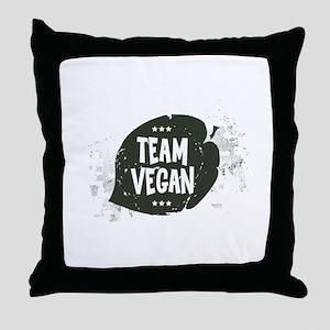 Team Vegan Leaf Throw Pillow