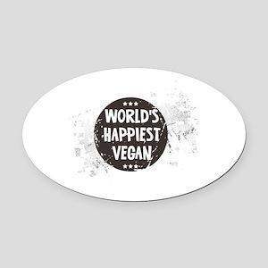 Worlds Happiest Vegan Oval Car Magnet