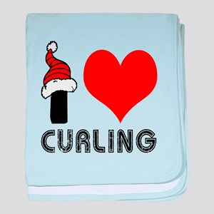 I Love Curling baby blanket