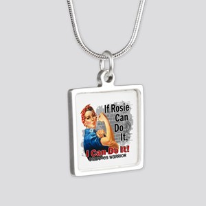 If Rosie Can Do It Diabetes Silver Square Necklace