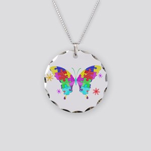 Autism Butterfly Necklace Circle Charm