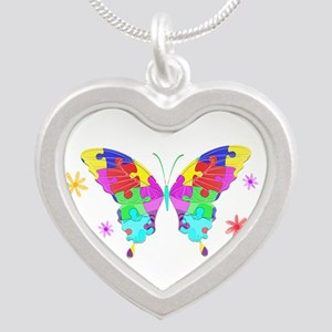Autism Butterfly Silver Heart Necklace