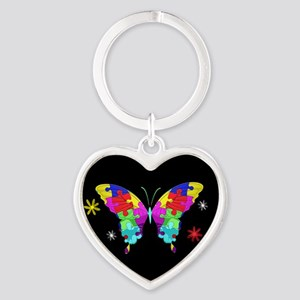 Autism Butterfly Heart Keychain
