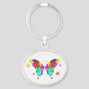 Autism Butterfly Oval Keychain